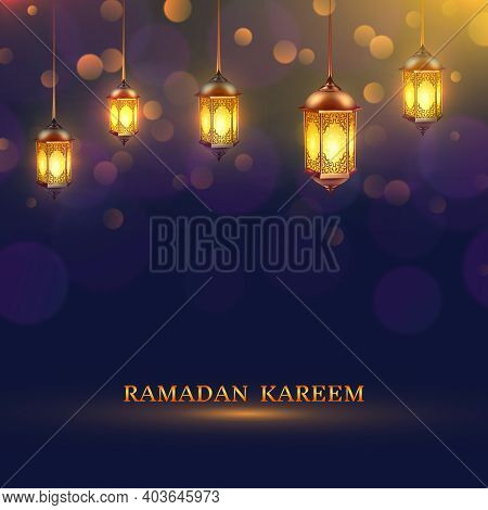 Ramadan Lights Poster Several Glowing Lamps Hanging From The Ceiling On A Dark Blue Background And T