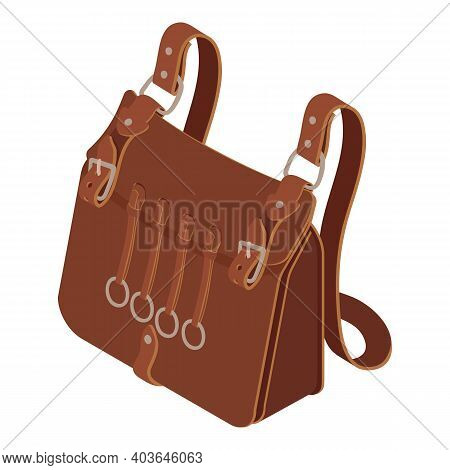 Hunting Leather Bag Icon. Isometric Of Hunting Leather Bag Vector Icon For Web Design Isolated On Wh