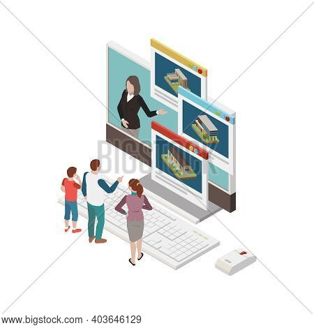 Isometric Concept With Real Estate Agency Website And Human Characters 3d Vector Illustration