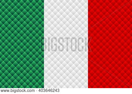 Mosaic Flag Of The Italy - Illustration,  Three Dimensional Flag Of Italy