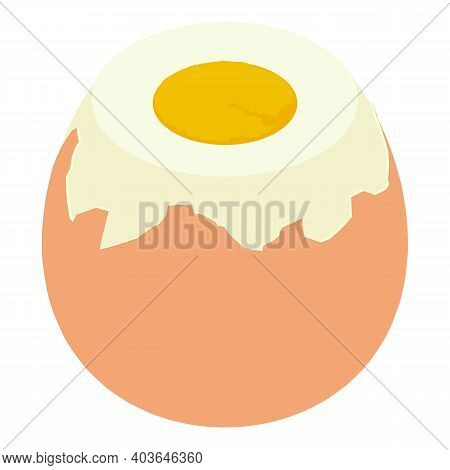Boiled Egg Icon. Isometric Of Boiled Egg Vector Icon For Web Design Isolated On White Background