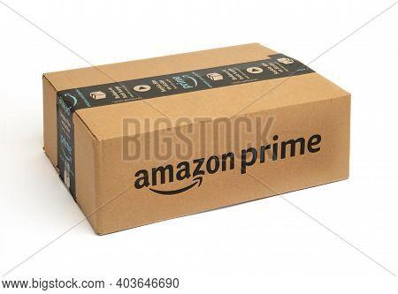 Amazon Prime Cargo Box On White Background. Amazon Order Package. .