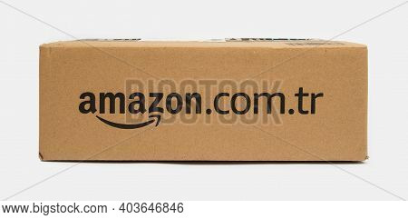 Amazon Turkey Cargo Box On White Background.