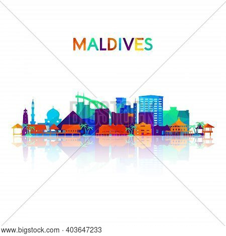 Maldives Skyline Silhouette In Colorful Geometric Style. Symbol For Your Design. Vector Illustration