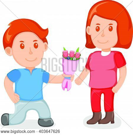 Young Lover Male Give Bouquet Flower To Female Character, Lovely People Couple, Standing Together Ca