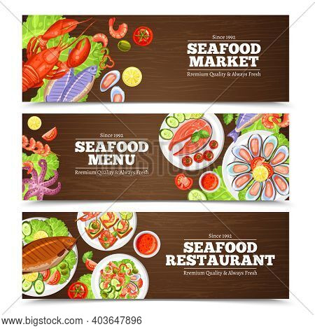 Color Horizontal Banners With Title For Seafood Market Menu Or Restaurant Vector Illustration