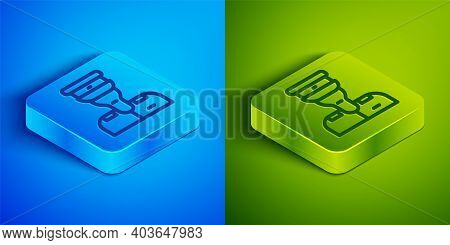 Isometric Line Train Conductor Icon Isolated On Blue And Green Background. Square Button. Vector