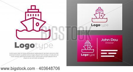 Logotype Line Cruise Ship Icon Isolated On White Background. Travel Tourism Nautical Transport. Voya