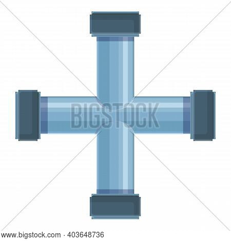 Cross Pipe Water Icon. Cartoon Of Cross Pipe Water Vector Icon For Web Design Isolated On White Back