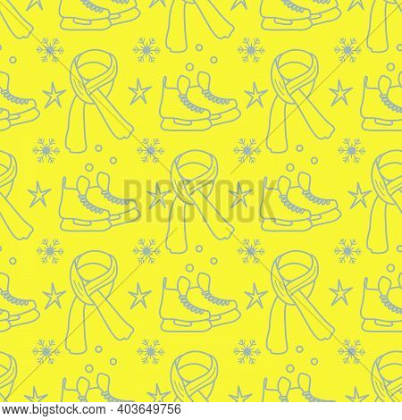 Vector Seamless Pattern Ice Skates, Scarf, Snowflakes, Stars. Winter Holiday Fun And Entertainment C