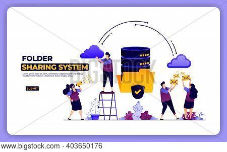Website Design Of Folder Sharing System. Database System Data Sharing Management. Designed For Landi
