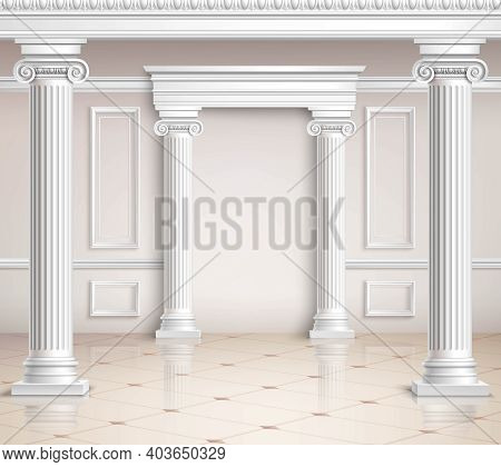 Classic Hall Design. Interior Realistic Design. Classic Interior Vector Illustration. Classic Interi