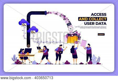 Vector Poster Of Access And Collect User Data. Manage User Experience Activity. Designed For Landing