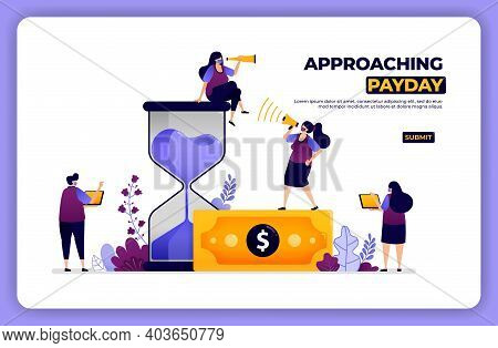 Homepage Illustration Of Approaching Payday. Managing Time And Financial Payments. Designed For Land