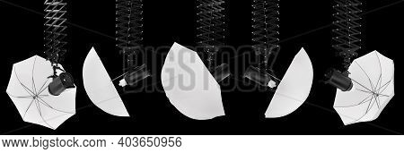 Photography Studio Flash On A Ceiling Pantograph With Umbrella Isolated On Black Background With Cli