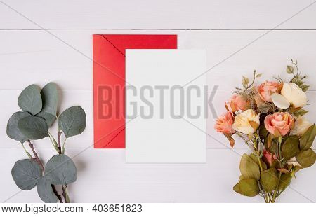 Valentine Day, Greeting Card Mockup And Letter And Flower On Wooden Table, Postcard Blank And Letter