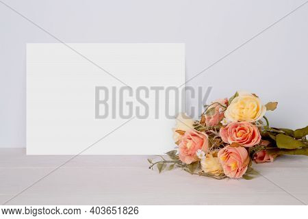 Valentine Day, Greeting Card Mockup Empty And Flower On Wooden Table, Postcard Blank With Romance On