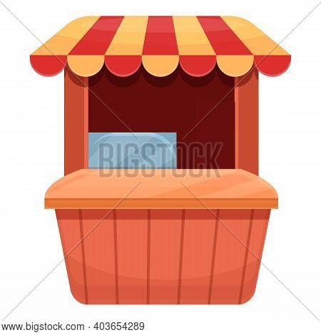 Street Food Vending Stand Icon. Cartoon Of Street Food Vending Stand Vector Icon For Web Design Isol