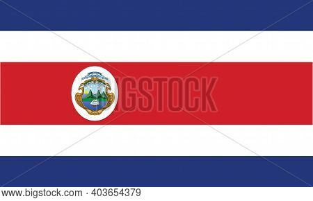 National Costa Rica Flag, Official Colors And Proportion Correctly. National Costa Rica Flag.
