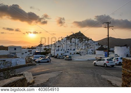 Ios, Greece - September 21, 2020:chora Of Ios Island, A Greek Island In The Cyclades Group In The Ae