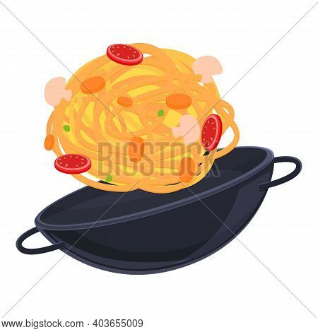 Wok Frying Pan Icon. Cartoon Of Wok Frying Pan Vector Icon For Web Design Isolated On White Backgrou
