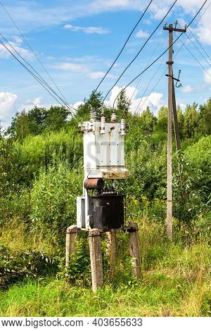 Old Voltage Power Transformer Substation At The Countryside