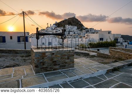 Ios, Greece - September 21, 2020: Chora Of Ios Island, A Greek Island In The Cyclades Group In The A