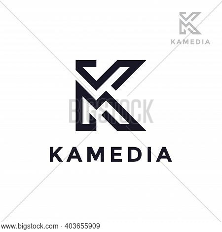 Abstract Letter Km Or Mk Logo Design Template. Creative Elegant Vector Sign Design For Corporate Bus