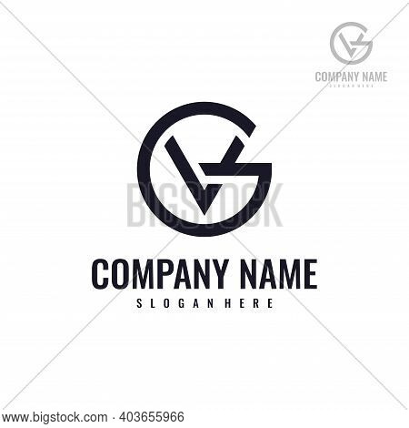 Abstract Letter Vg Or Gv Logo Design Template. Creative Elegant Vector Sign Design For Corporate Bus