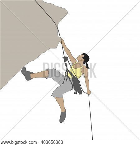 Pretty Girl Climb To Rock. Hobby Risky, Athletic Active Sport, Strive To Success Top, Training Sport