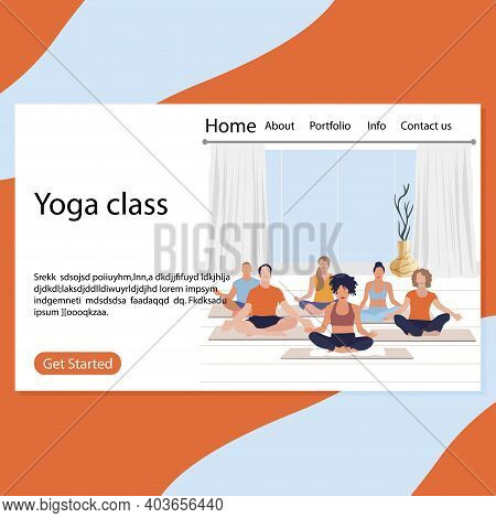 Yoga Class Page, Retreat Exercise Fot Group Illustration. Harmony And Wellness Pose For Body, Yoga M