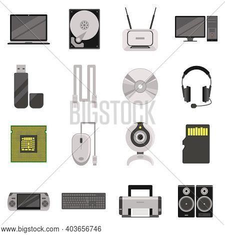 Laptop And Computer With Components And Accessories And Electronic Devices Flat Icons Set Isolated V