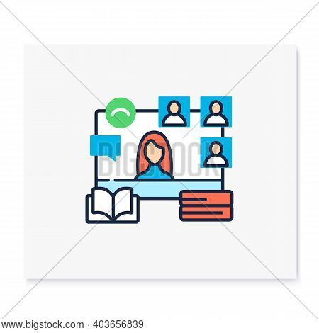 Online Book Club Color Icon. Meeting Together Concept. Internet Streaming Website. Social Distanced