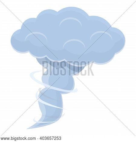 Tornado Cloud Icon. Cartoon Of Tornado Cloud Vector Icon For Web Design Isolated On White Background
