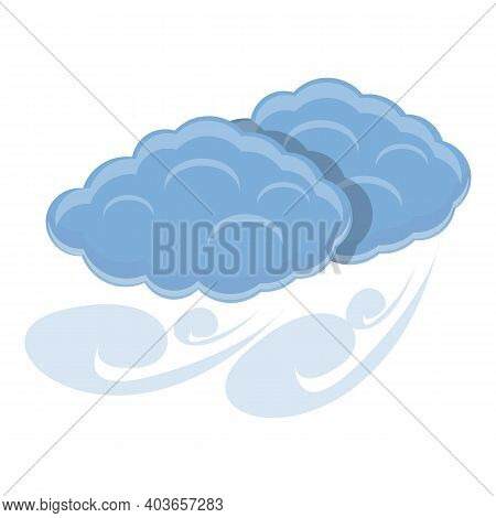 Blowy Clouds Icon. Cartoon Of Blowy Clouds Vector Icon For Web Design Isolated On White Background