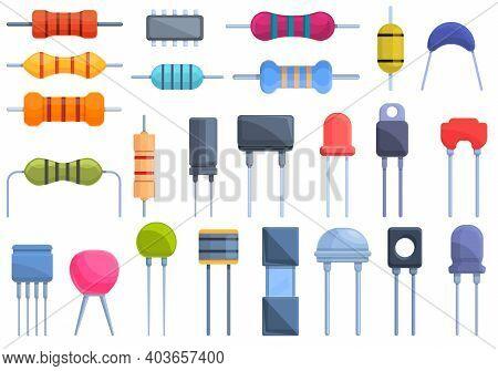 Resistor Icons Set. Cartoon Set Of Resistor Vector Icons For Web Design