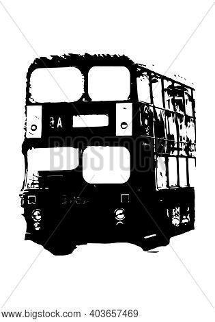 Silhouette Of A Double Decker London Bus Vector Illustration For Design