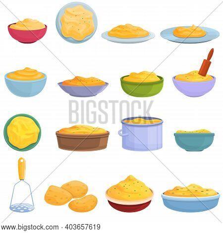 Mashed Potatoes Icons Set. Cartoon Set Of Mashed Potatoes Vector Icons For Web Design