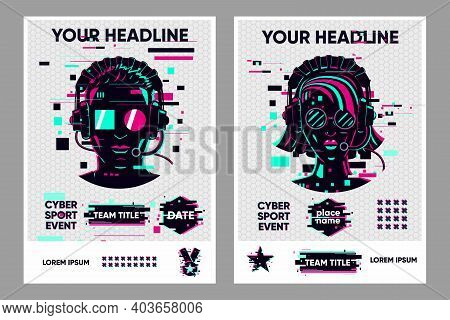 Video Game Posters Set. Gamer Competition Banners Template. Glitch Style Graphic With People. Vector