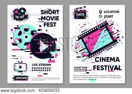 Cinema Poster Template. Vector Banner With Movie Objects. Online Video Backdrop. Glitch Style Image