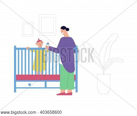 Nanny With Bottle Of Milk Looking After Baby Flat Vector Illustration
