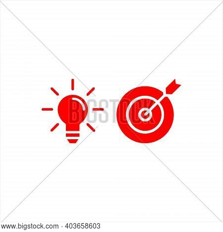 Target And Bulb Icon Set Digital Marketing Accuracy Seo Design Element Template