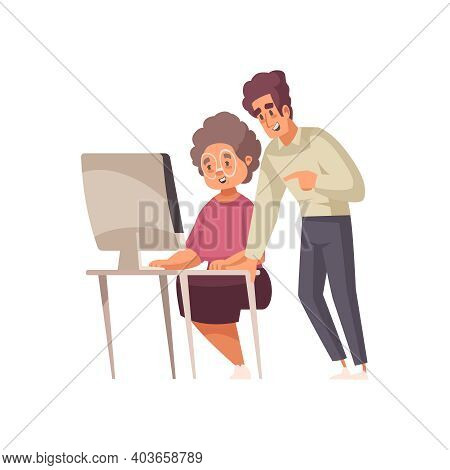 Man Learning Grandma To Use Computer Flat Vector Illustration