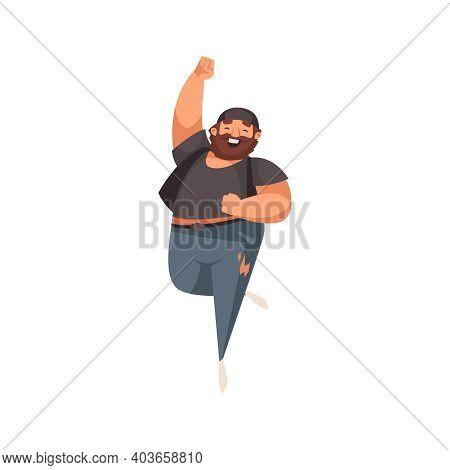 Happy Plump Adult Man With Beard Jumping Flat Vector Illustration
