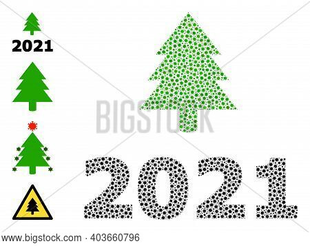 Vector 2021 Fir Tree Icon Coronavirus Mosaic. 2021 Fir Tree Mosaic Is Constructed With Small Coronav