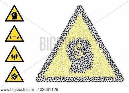 Vector Banker Warning Icon Coronavirus Collage. Banker Warning Mosaic Is Constructed Of Small Corona