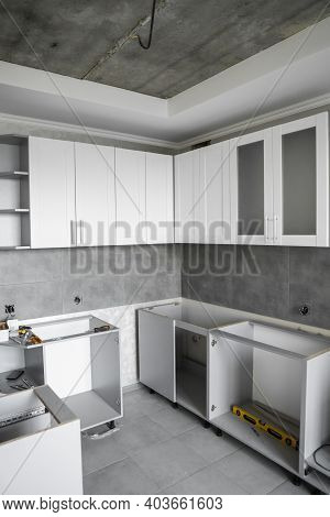 Custom Kitchen Cabinets Installation With A Furniture Facades Mdf. Gray Modular Kitchen From Chipboa