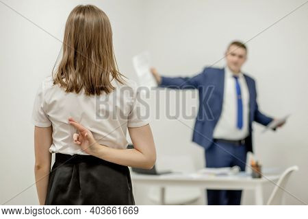Angry Boss Yelling At His Young Employee, She Is Stressed And Feeling Frustrated: Hostile Boss And M