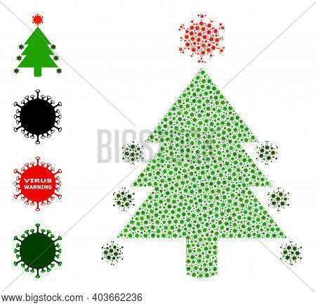 Vector Coronavirus Fir-tree Icon Covid Mosaic. Coronavirus Fir-tree Mosaic Is Organized From Small C