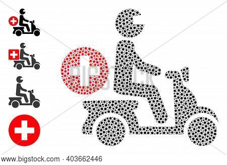 Vector Doctor Motorbike Icon Covid Collage. Doctor Motorbike Mosaic Is Designed With Tiny Covid Infe